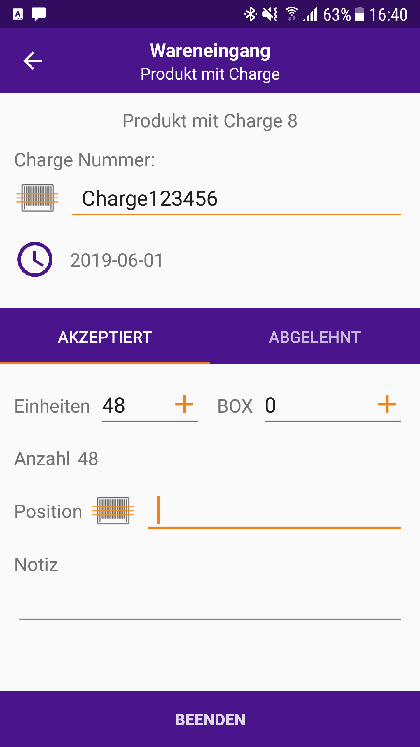 Mobile App Produkt Mit Charge Screenshot