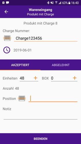 Mobile App Produkt Mit Charge Screenshot